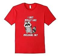 I Just Really Like Raccoons Ok Raccoon Lover Gift Tshirt Red