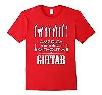 Patriot Guitarist T Shirt America Flag Guitar Red