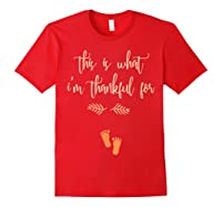 Thanksgiving Pregnancy Announcet Shirt Thankful T Red