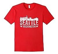 Seattle Skyline Tshirt Silhouette Distressed City Souvenir Red