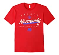 Normandy France Beach T Shirt Red
