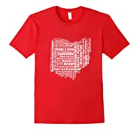 Zanesville Hometown Ohio State Shaped Wordcloud Shirts Red
