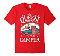 Queen Of The Camper Outdoor Camping Camper Girls Shirts Red
