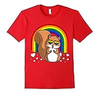 Squirrel Gay Pride Rainbow Q Cute Gift Shirts Red