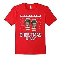 Christmas In July Santa Flip Flop Summer Xmas Gift Shirts Red