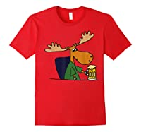 Smiletodaytees Funny Moose Drinking Mug Of Beer T-shirt Red