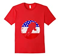 Space Science Retro Astronaut American Flag T-shirt Red