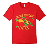Tacos Before Vatos Artistic Taco Tuesday Shirts Red