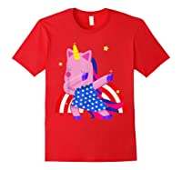 Dabbing Unicorn Merica 4th Of July For Shirts Red