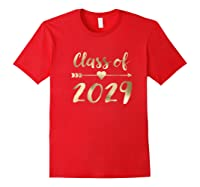 Class Of 2029 Grow With Me First Day Of School Gold Shirts Red