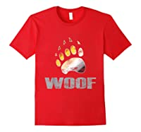 Bear Pride Woof Bear Claw Symbol Distressed For Shirts Red