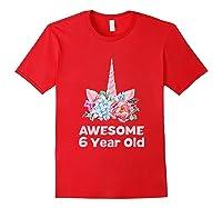6th Birthday Unicorn Girls Age 6 Year Oid Niece Gifts Shirts Red