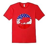 Bass Fish Retro Style Fishing American Flag Shirts Red