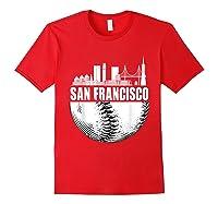 San Francisco Skyline City Baseball T Shirt Souvenir Skyline Red