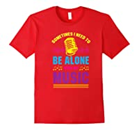 Be Alone With My Music Funny Musical Lover Listen Tunes Premium T-shirt Red