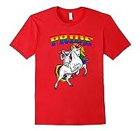 Koala Bear Unicorn Gay Pride Rainbow Q Cute Gift Shirts Red