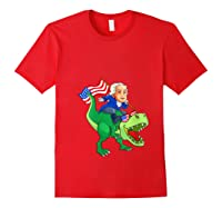 George Washington Riding T Rex Dinosaur 4th Of July Trex Shirts Red