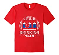 Beer Slovenian Drinking Team Casual Slovakia Flag T-shirt Red