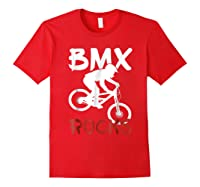 Bmx Riding Rocks T Shirt Cool Dirt Bike Race Stunt Gift Tees Red