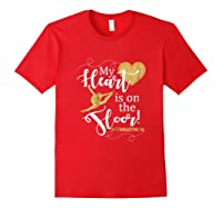 My Heart Is On The Floor Gymnast Mom Gif #gymmom Shirts Red