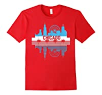 Chicago Skyline Shirt Silhouette Il City Flag Gift T Shirt Red