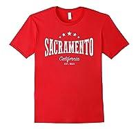 Vintage Sacrato Shirt Ca Home City Pride Distressed Red