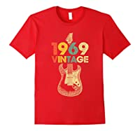 Vintage 1969 50th Birthday For Guitar Lover Tshirt T-shirt Red