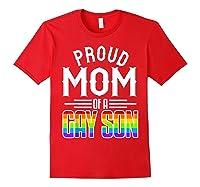 Proud Mom Gay Son Pride Rainbow Flag Lgbt 2019 Gift Shirts Red