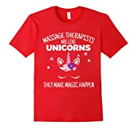 Funny Massage Therapist Unicorn For Gift Shirts Red