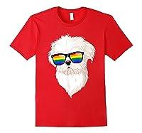 Havanese Face Rainbow Sunglasses Gay Pride Lgbt Tshirt Gifts Red