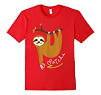 Finger Circle Game Cute Sloth Funny Made You Look Prank T-shirt Red