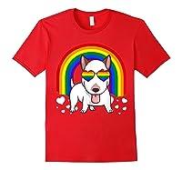 Bull Terrier Dog Gay Pride Rainbow Q Cute Gift Shirts Red