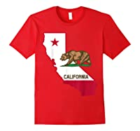 California Bear And Map Cool Gift Shirts Red