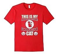 Halloween Cat Costume, This Is My Human Costume Retro Shirts Red