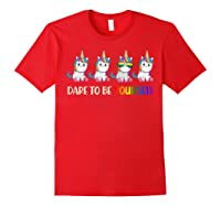 Cute Unicorn Shirt Dare To Be Yourself Lgbt, Gay T-shirt Red