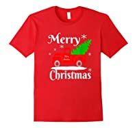 Merry Christmas Old Vintage Red Truck With Christmas Tree Shirts Red