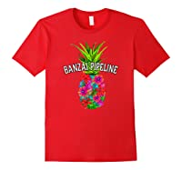 Banzai Pipeline Tropical Pineapple Flower Vacation T-shirt Red