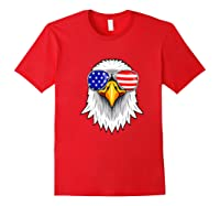 Patriotic Eagle 4th Of July Usa American Flag Sunglasses Premium T-shirt Red