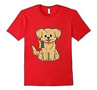 Pride Golden Retriever Dog Gay Lesbian Rainbow Flag Shirts Red