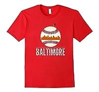 Baltimore Oriole Baseball Tshirt Hometown Skyline Design Premium T-shirt Red