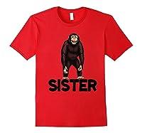 Monkey Sister Animal Jungle Humorous Premium T-shirt Red
