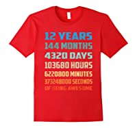12th Birthday Gift 12 Years Old Being Awesome Shirts Red