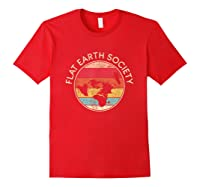 Flat Earth Society T-shirt   Conspiracy Theory Model Gift Red