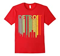 Retro Detroit Vintage Detroit Skyline Shirts Red
