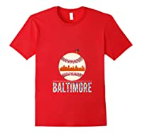 Baltimore Oriole Baseball Hometown Skyline Design Shirts Red
