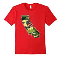 California Camouflage Veteran Pride T-shirt Red