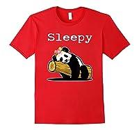 Sleepy Panda Shirt For Girls Cute Panda Flowers Lazy Relaxed Red