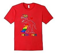 Free Mom Hugs Lgbt Mom Saurus Rainbow Gift Shirts Red