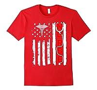 Patriotic American Usa Flag Correctional & Rn Nurse Tshirt Red