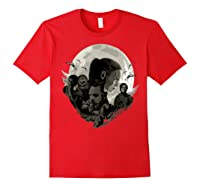 Star Wars Last Jedi Rebels Moon Silhouette Graphic T-shirt Red